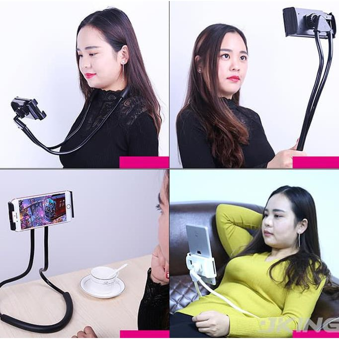 DISKON - LAZY HANGING NECK CELL PHONE STAND MOUNT NECKLACE/ HOLDER LEHER HP FLE XIAOMI