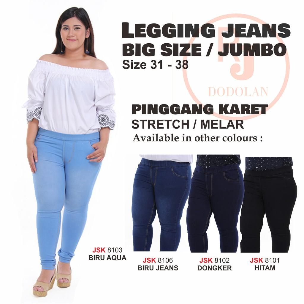 Celana Pensil Pinggang Karet Legging Jeans Jumbo Jegging Big Size Besar Biru Muda Tua Wanita   Shopee Indonesia