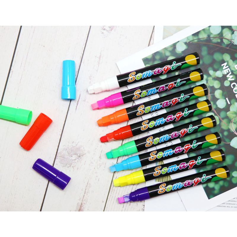 8 Colors Highlighter Fluorescent Liquid Chalk Marker Neon Pen For Led Writing Board Blackboard Glass Painting Graffiti Office Supply Shopee Indonesia