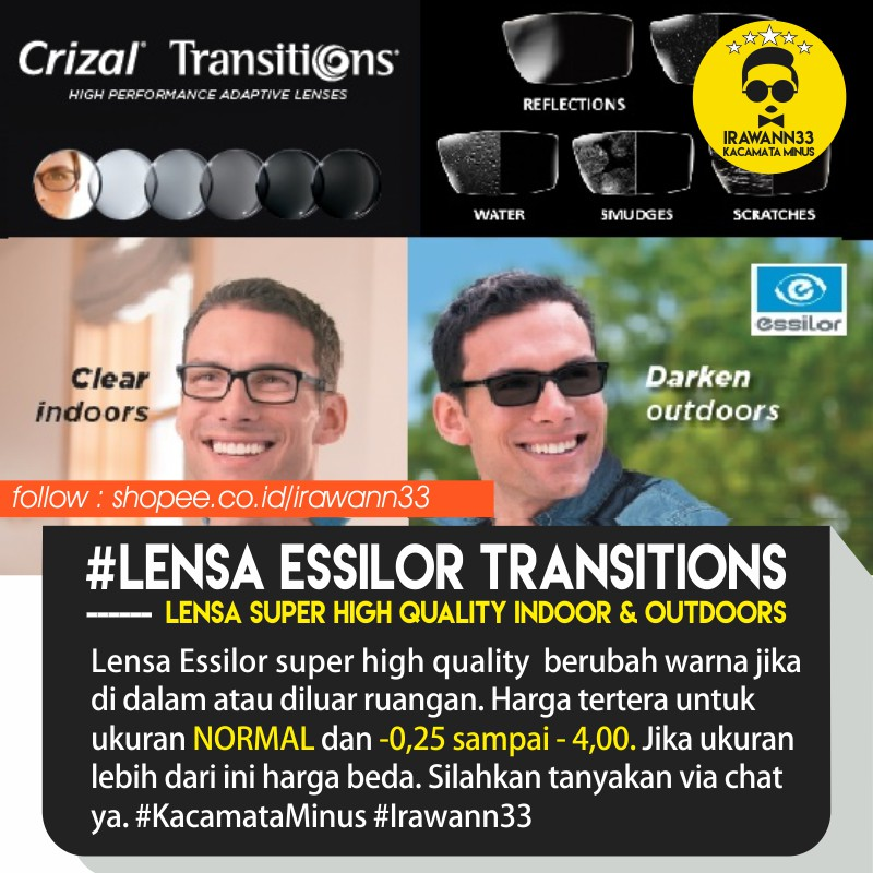 LENSA KACAMATA PHOTOCROMIC PREMIUM ~ Lensa ESSILOR SUNSATIONS ukuran  NORMAL 59c87c07dd