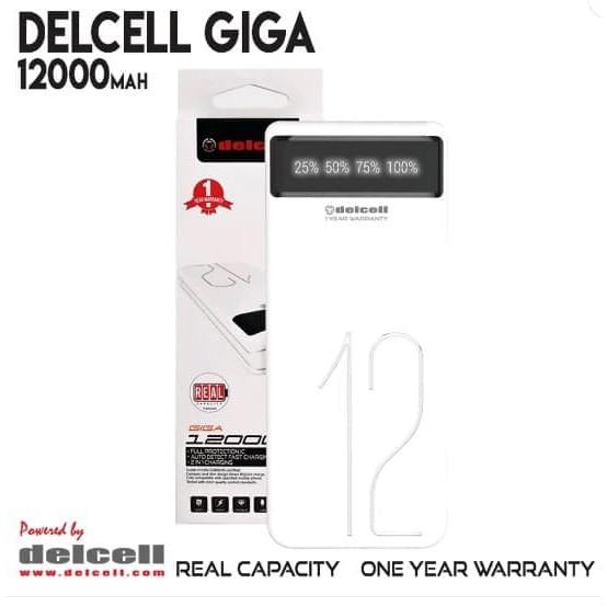 PowerBank Delcell GIGA 12000Mah Power Bank Real Capacity Original