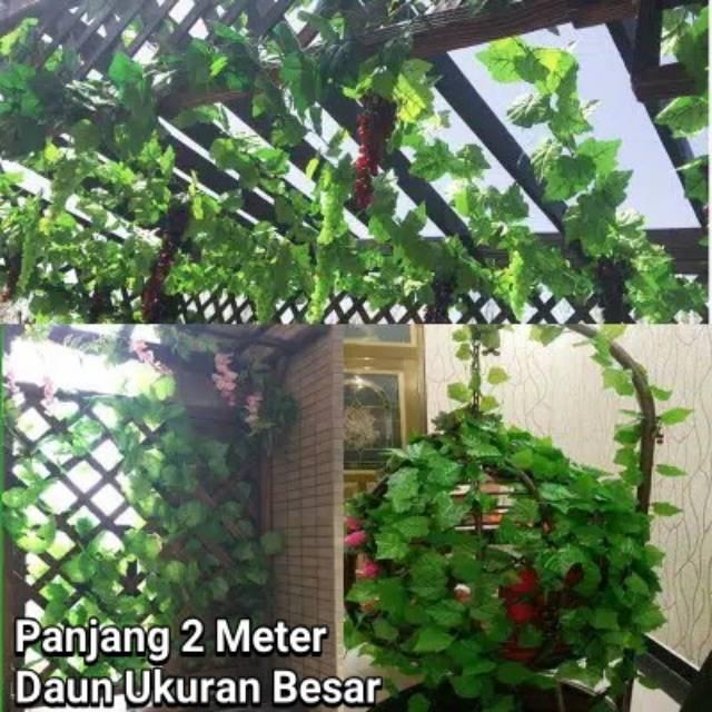 2meter Daun Rambat Jumbo Tanaman Artficial Hias Sulur Palsu Plastik Dekorasi Teras Taman Rumah Shopee Indonesia