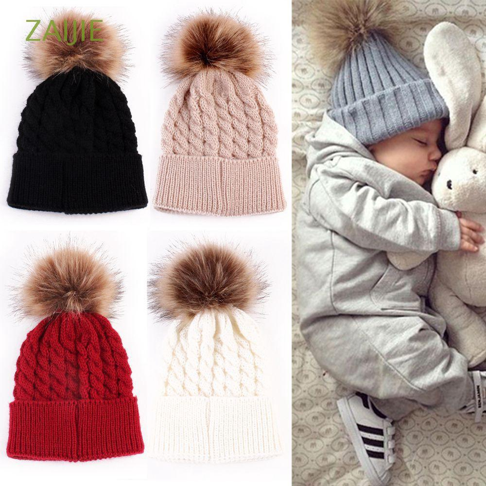 Baby Infant Toddler Girl Boy Hat Large Pom Winter Knitted Unisex 0-36 Months