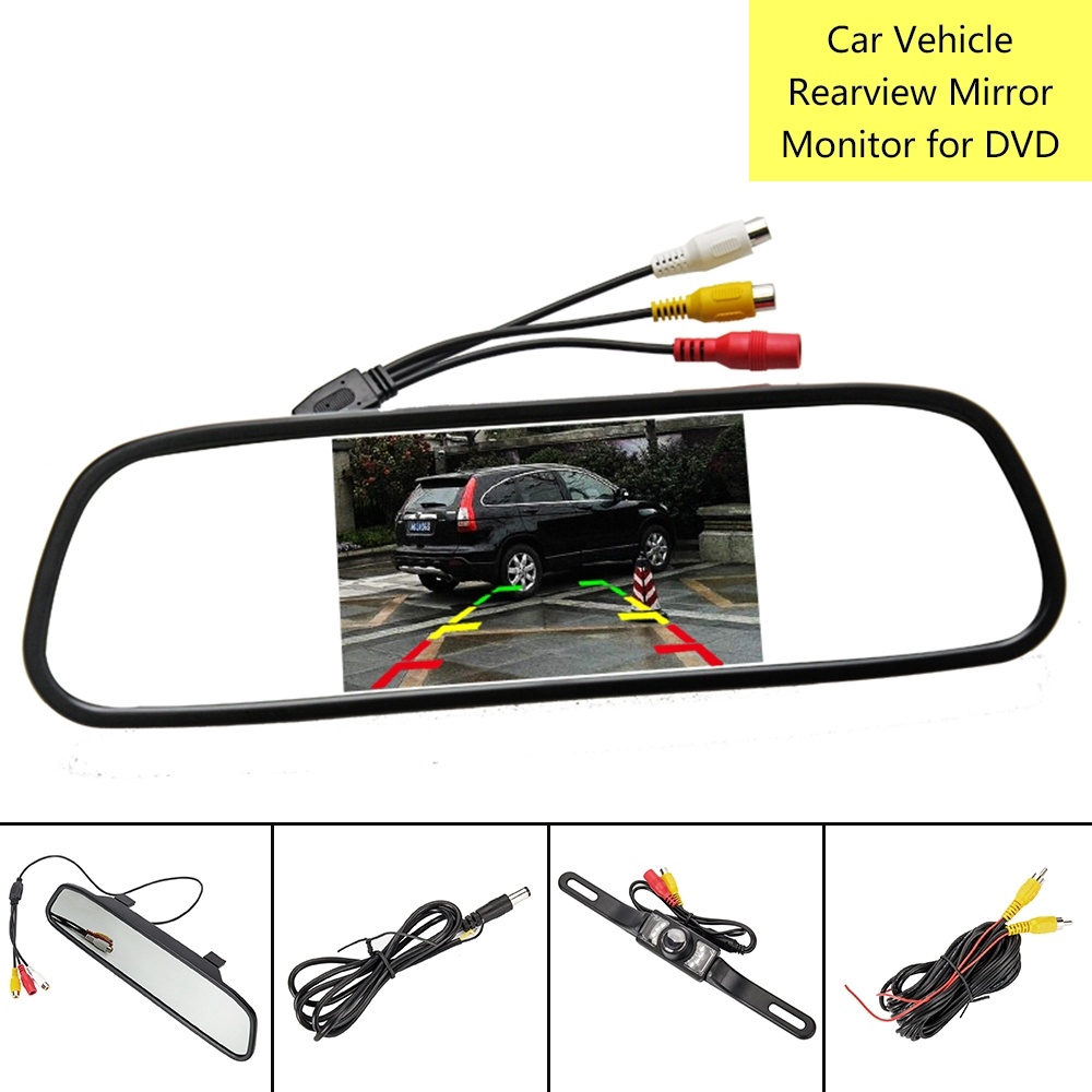 "DIY Car Rear View 4.3/"" Mirror Monitor 4 LED Backup Camera+Charger Video Power"