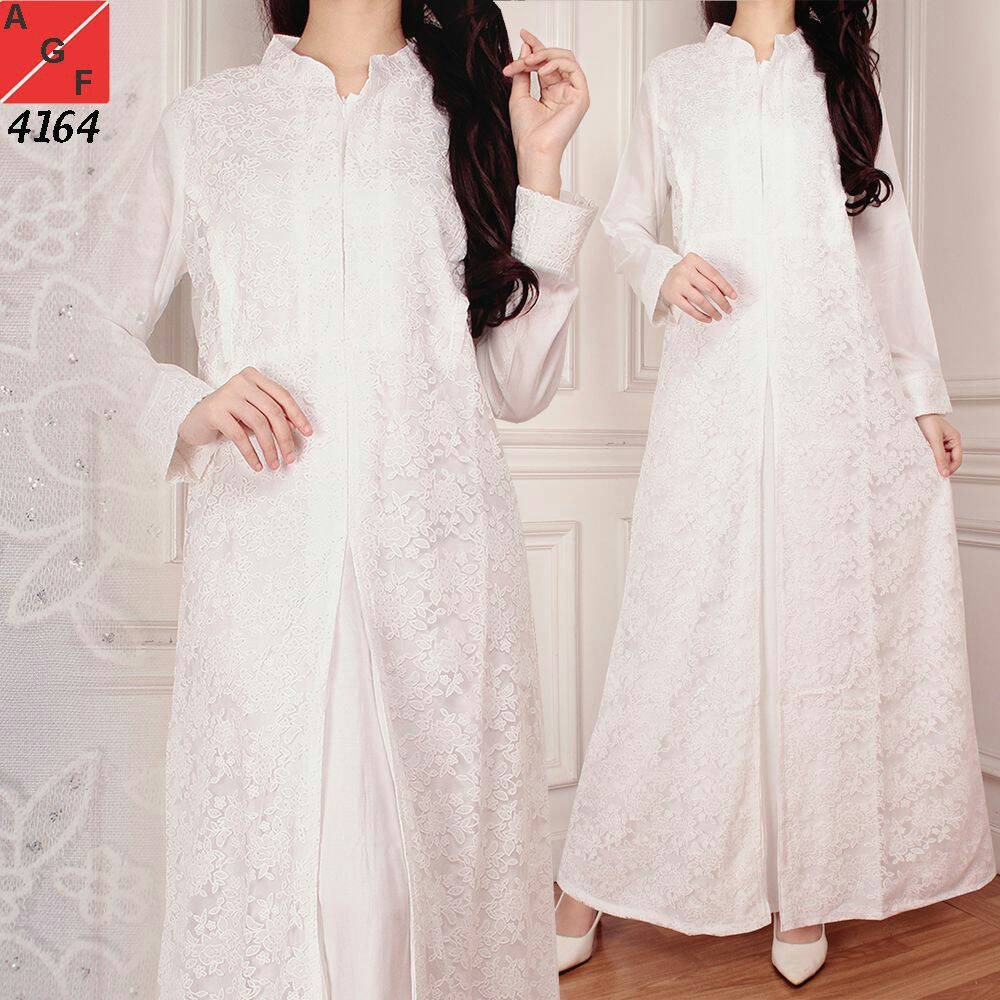 SALE!! Baju Gamis Wanita Brukat   Gamis Putih Lebaran Umroh Haji   Busana  Muslim Wanita  80820  5f340b12b1