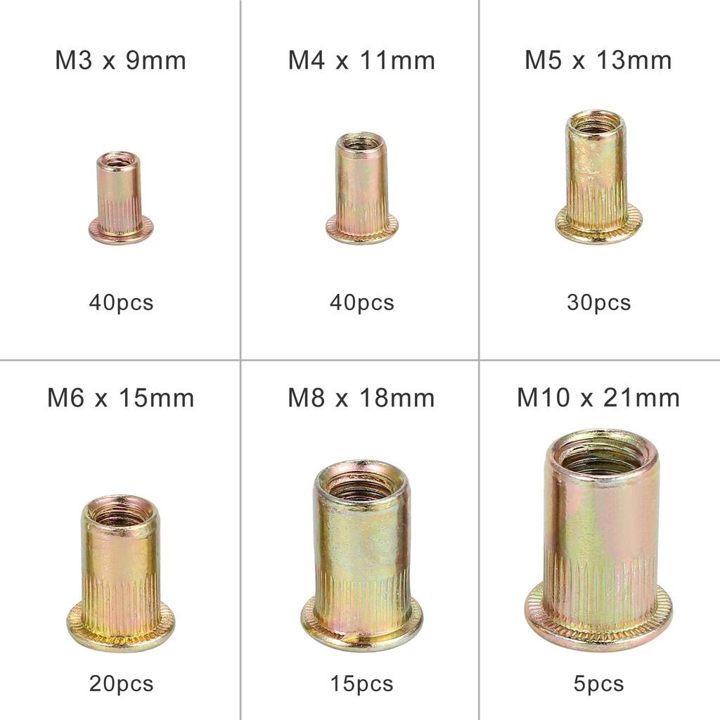 150PCS Set Rivet Nut Kit  Blind Aluminium Rivnut Insert Nutsert Threaded M3-M10