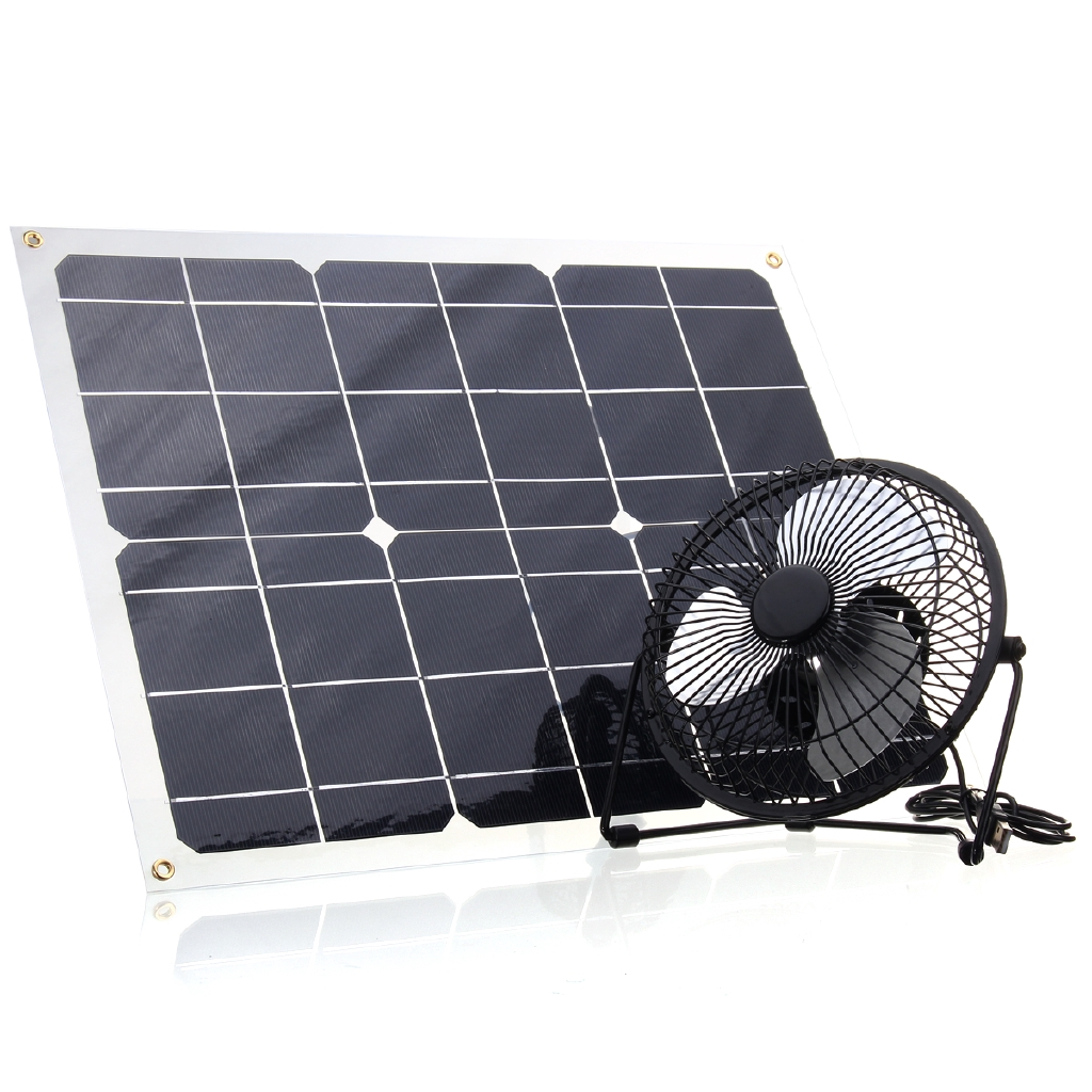 Solar Power Fan >> 6 Usb Solar Panel Iron Fan Powered 22w For Outdoor Home Cooling Ventilation