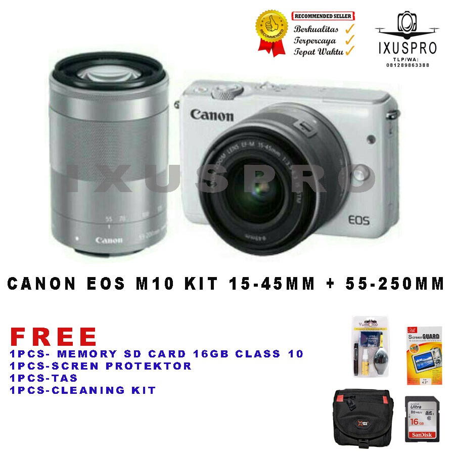 Canon Eos M10 Kit 15 45mm White Shopee Indonesia Is Stm 18 Mp Hitam