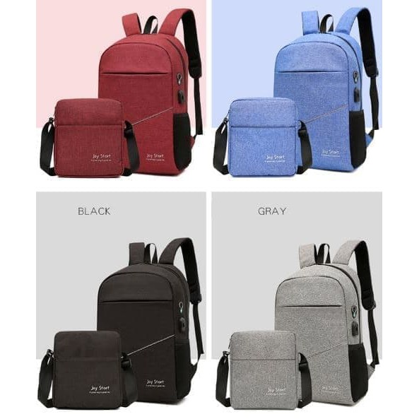 TAS MURAH Buy 1 Get 1 ORIGINAL Tas Ransel Anti Air + USB Charger Earphone Hole - Abu-abu Muda