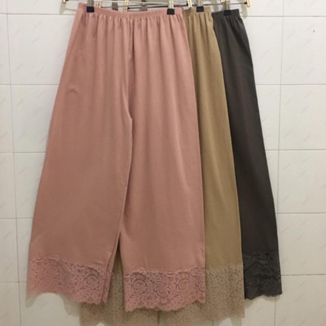 Clover Inner Celana Panjang Pants Kulot Renda Katun Legging Dalaman Gamis Premium Quality Shopee Indonesia