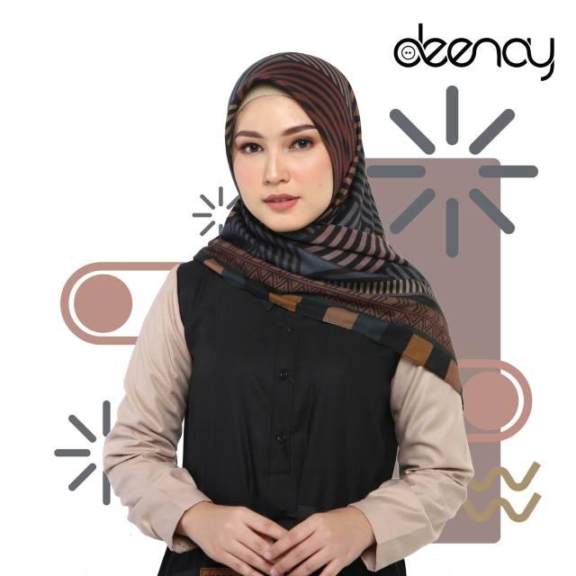 Terbaru Hijab Segi Empat Deenay Lubna Brown Original Scarf Shopee Indonesia
