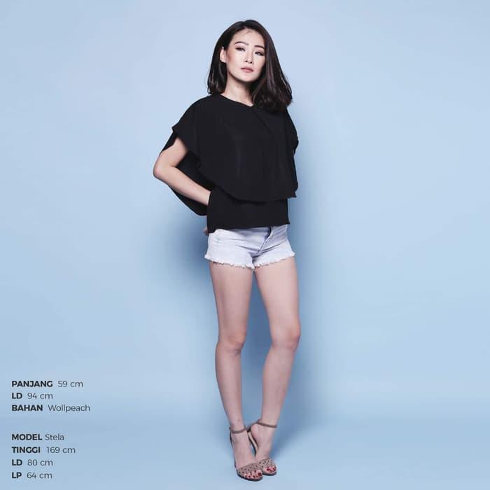 Sheila top twiscone fit L atasan blouse wanita cewek putih hitam maroon navy murah tali pinggang