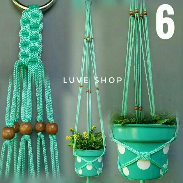 Macrame hanging pot - tali gantung pot - tali gantung tanaman - lukscreation | Shopee Indonesia
