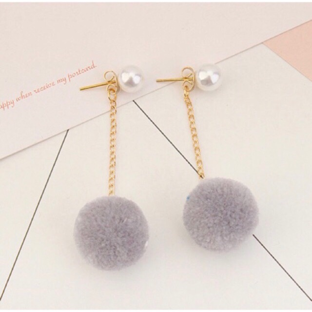 LRC Anting Gantung Elegant Fuzzy Ball Pendant Decorated Pure Color Pom Earrings | Shopee Indonesia