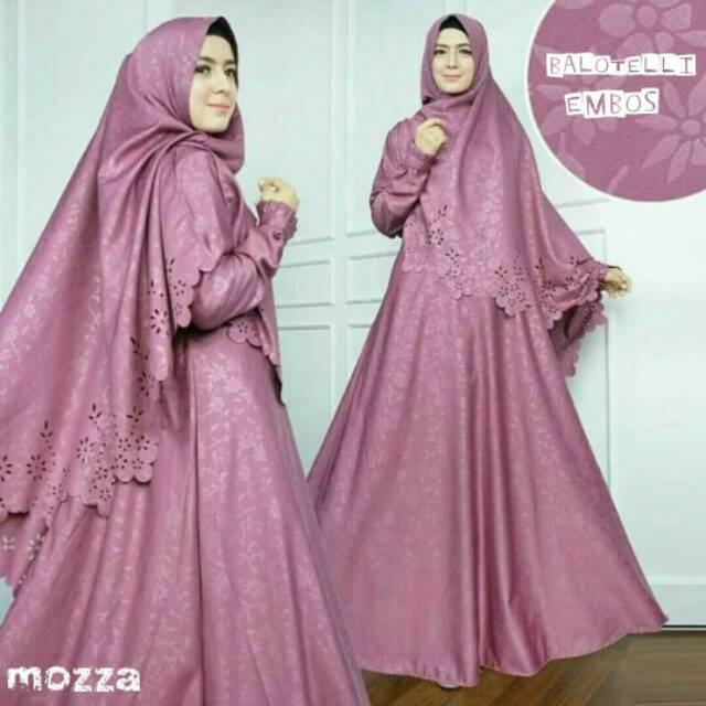 Gamis Syar I Muslimah Balotelly Embos Hq Gaun Muslimah Syari Baju Muslim Wanita Maxi Dress Shopee Indonesia