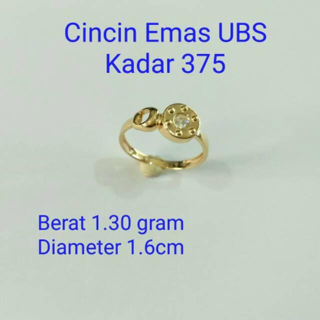 Cincin Emas UBS kadar 375 berat 1.30 gram
