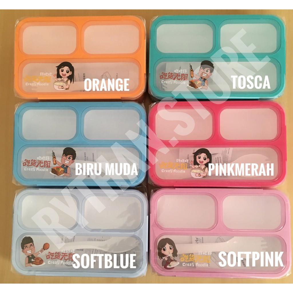 Kotak Makan Yooyee Mini Sekat 3 Shopee Indonesia Leakproof Lunchbox 605 4 Anti Tumpah Biru Muda