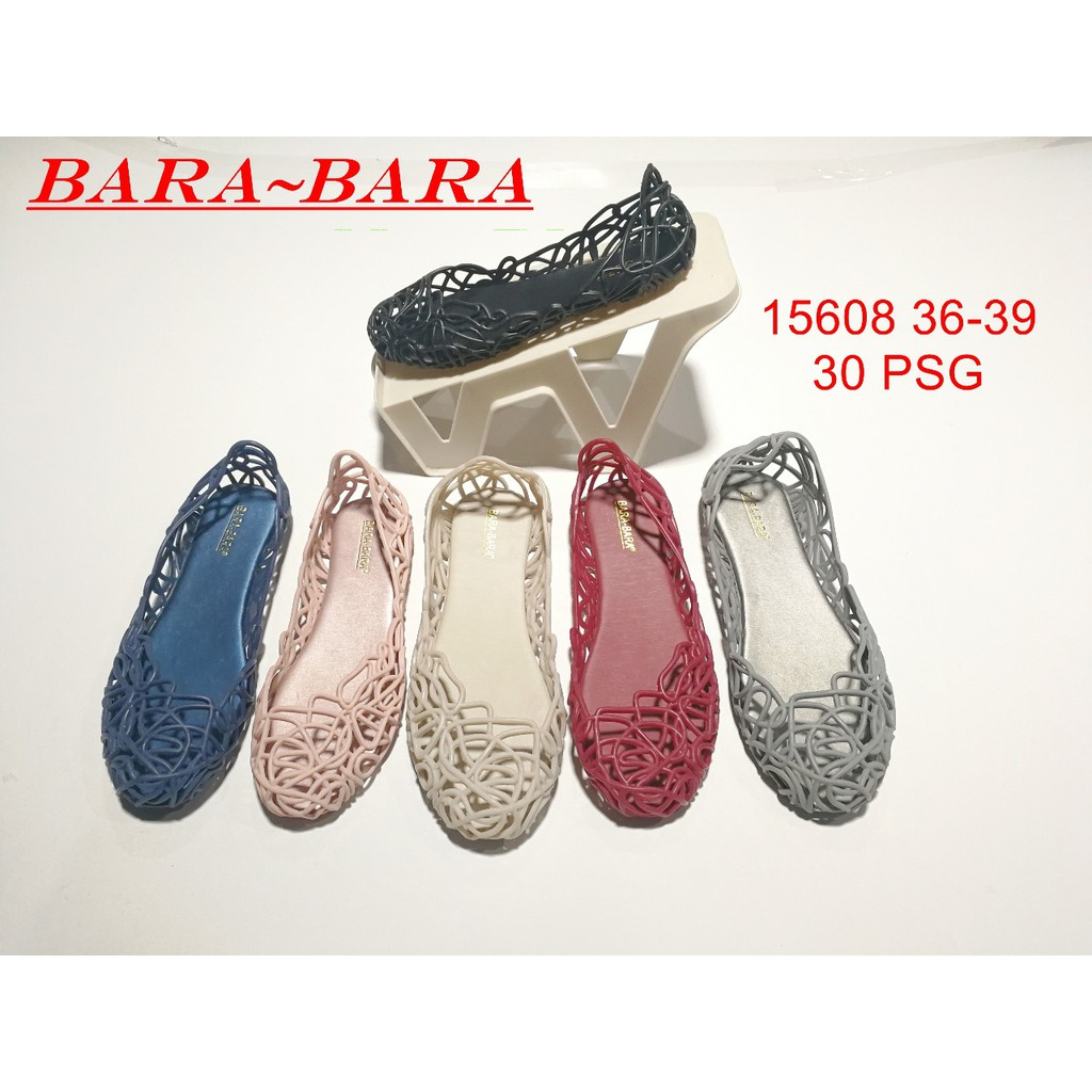 Jelly shoes bara bara sepatu wanita flat shoes jaring import 15608   Shopee Indonesia