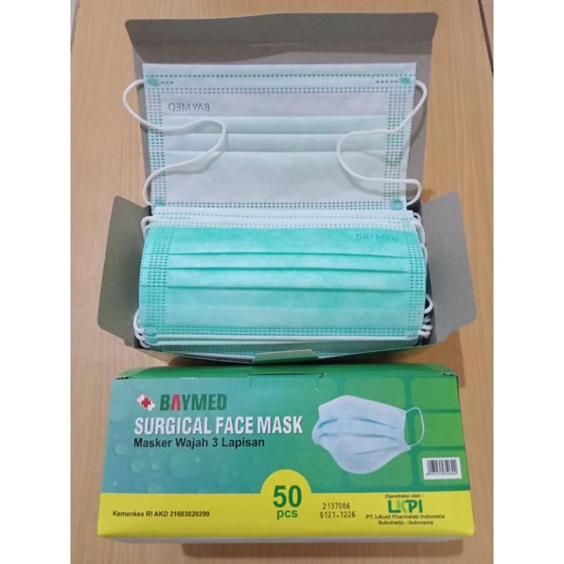 Masker Medis Baymed / Masker Baymed / Masker Medis / Surgical Face Mask 3 Ply 50 Pcs