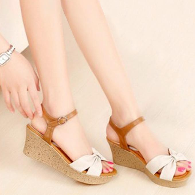 harga promo Sandal Wedges Wanita   Sepatu Wedges Cewek SDW54 terlaris Caf Shopee.co.id
