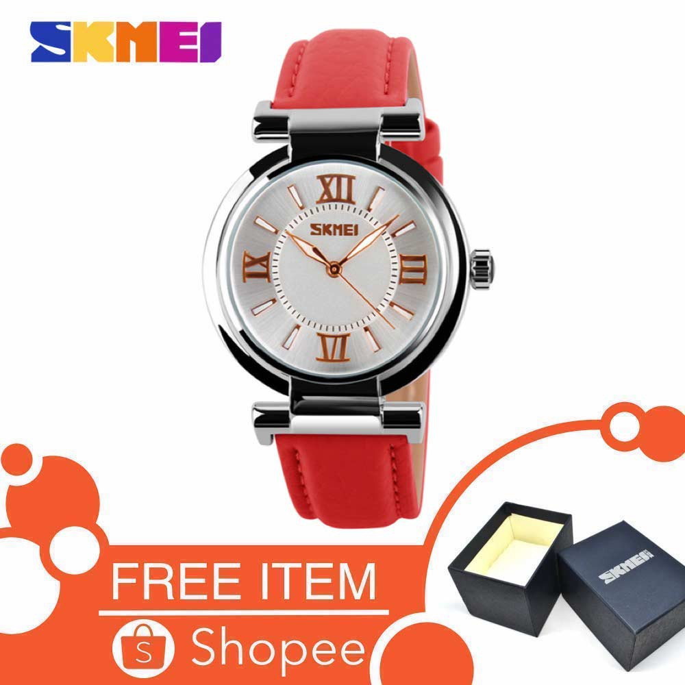 Skmei Casual 9075 Strap Leather Jam Tangan Wanita - Putih Free Box | Shopee Indonesia