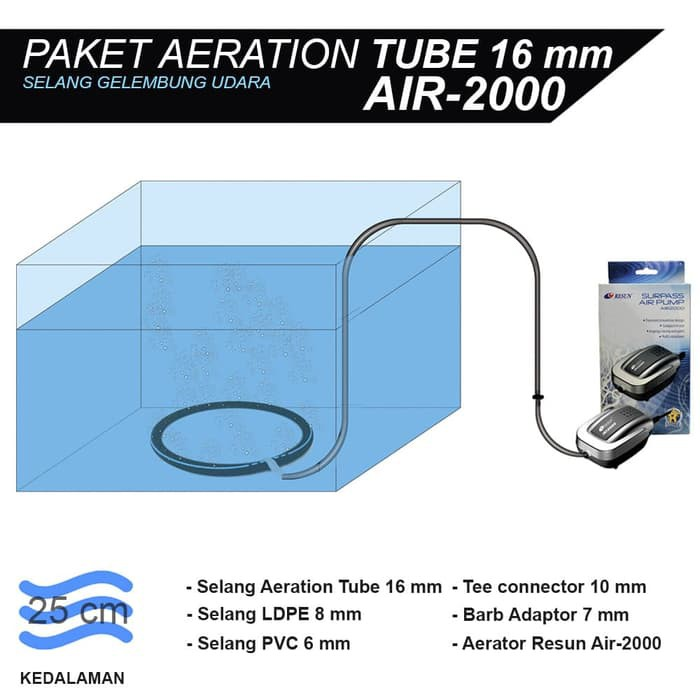 Jirifarm (09042) Aeration Tube Set D 10 Inch / Selang Aerator / Gelembung Plus