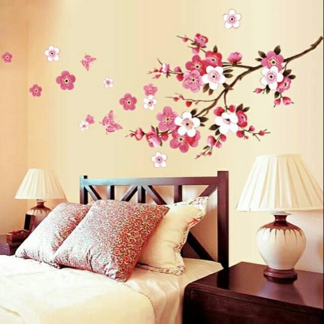 Reliza Wall Sticker Bunga Sakura Flowers Merah Red Bloosome Ay9053