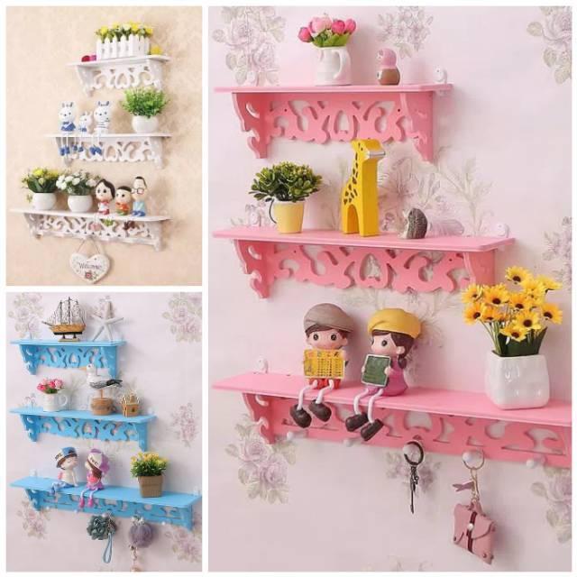 Rak Dinding Vintage 1set Isi 3pcs Gantung Gantungan Shabby Chic Kayu Dekorasi Pajangan Hiasan Rumah Shopee Indonesia