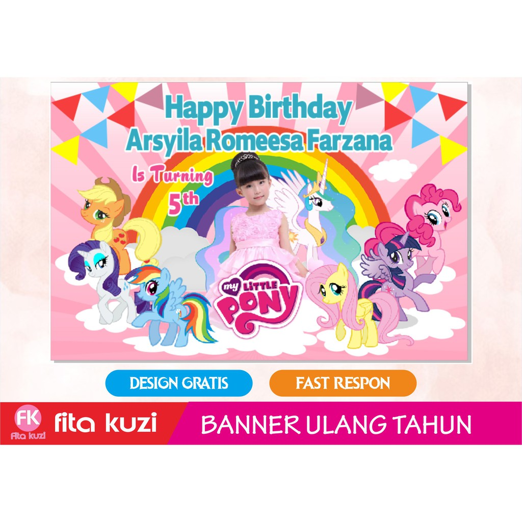 Banner Ulang Tahun Little Pony Wallpapper Backdrop Ultah Shopee Indonesia