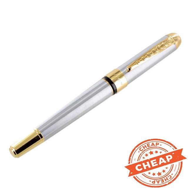 JinHao 250 Stainless Steel Gold Trim Fountain Pen Medium