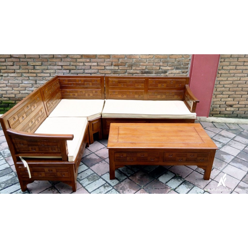 Set Sofa Bed Meja Kursi Tamu Sudut Minimalis Furniture Living Room Karimun Makan Dining Table Rumah Kayu Jatu Classic Art Modern Shopee Indonesia