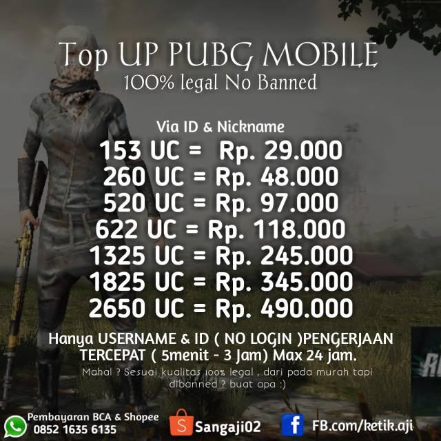Uc Pubg Murah Safe Shopee Indonesia
