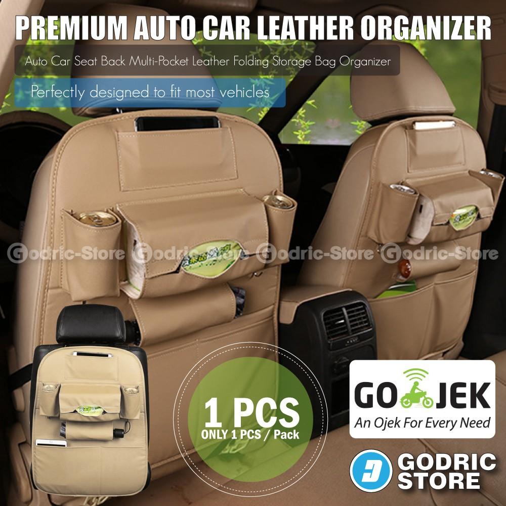 Leather Premium Auto Car Organizer Tas Jok Rak Kulit Elegant Tempat Tissue Mobil - Cream | Shopee Indonesia