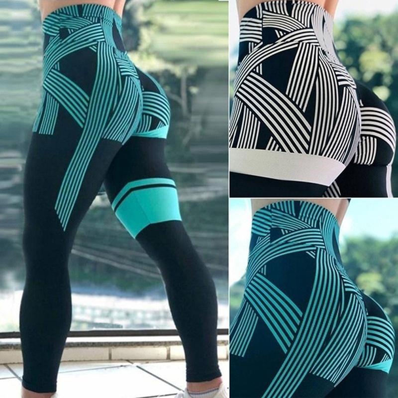 Fashion Women S Slim Fit Leggings High Waist Striped Print Sport Pants Gym Running Yoga Pants Shopee Indonesia