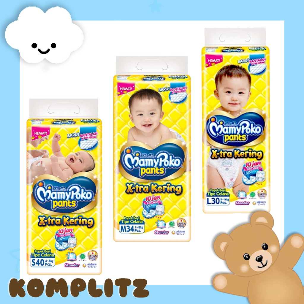 Mamy Poko Pants Xtra Kering Standar S40 M34 L30 Xl26 Xxl Baby Happy Body Fit 24 Mamypoko Celana Shopee Indonesia