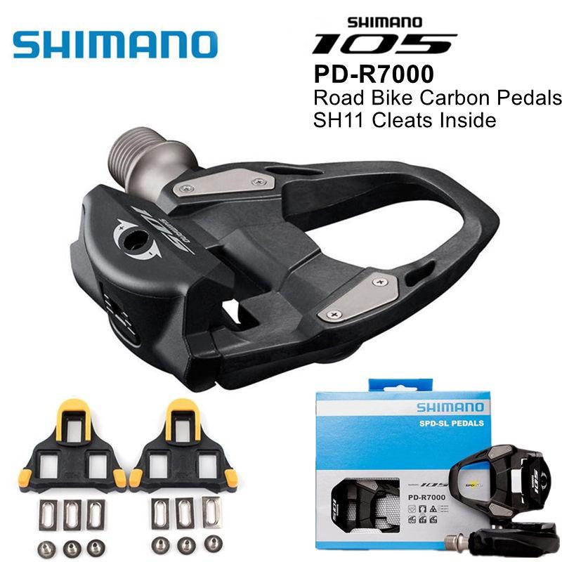 Road Bike Shimano Black 105 PD-R7000 SPD SL Clipless Road Pedals Float Cleats