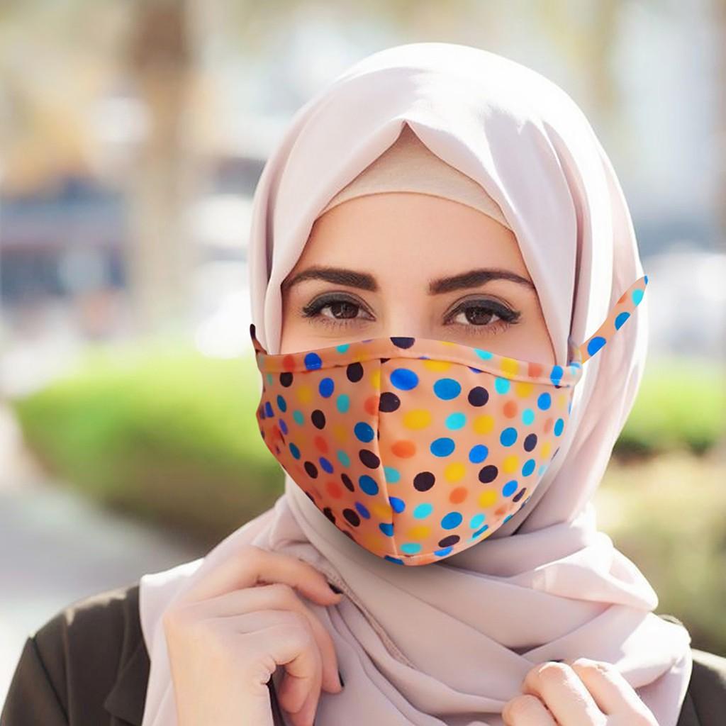 Masker Mulut Hijab Wajah Motor Motif Korea Cocok Untuk Yang Berjilbab Polkadot