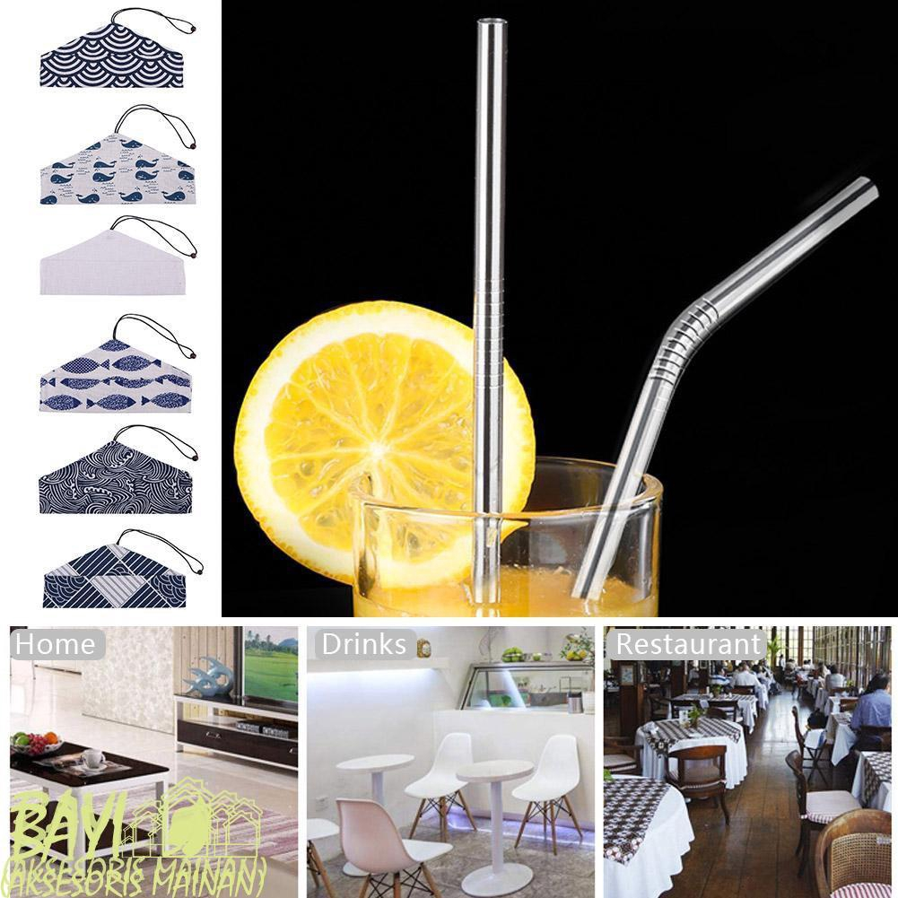 5pcs Reusable Stainless Steel Drinking Straight Bent Straws Cleaning Brush Set