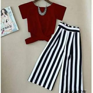 Setelan Baru Set Atasan Bawahan Stripe Zara - Fashion Wanita Setelan Kulot Casual - Maroon Bagus