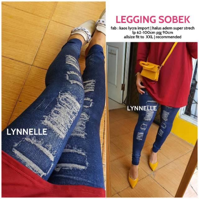 Legging Motif Sobek Aks Halus Shopee Indonesia