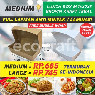 LUNCH BOX PAPER (MIN ORDER 50) TRAY PAPER KERTAS COKLAT KRAFT KOTAK MAKAN TAKEAWAY POLOS BROWN