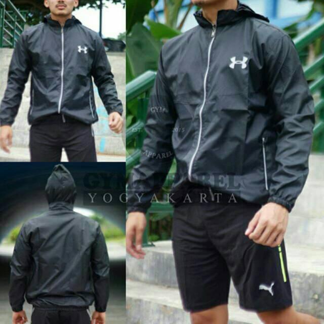 Jaket Parasut / jumper / jaket lari Under armour waterproof | Shopee Indonesia