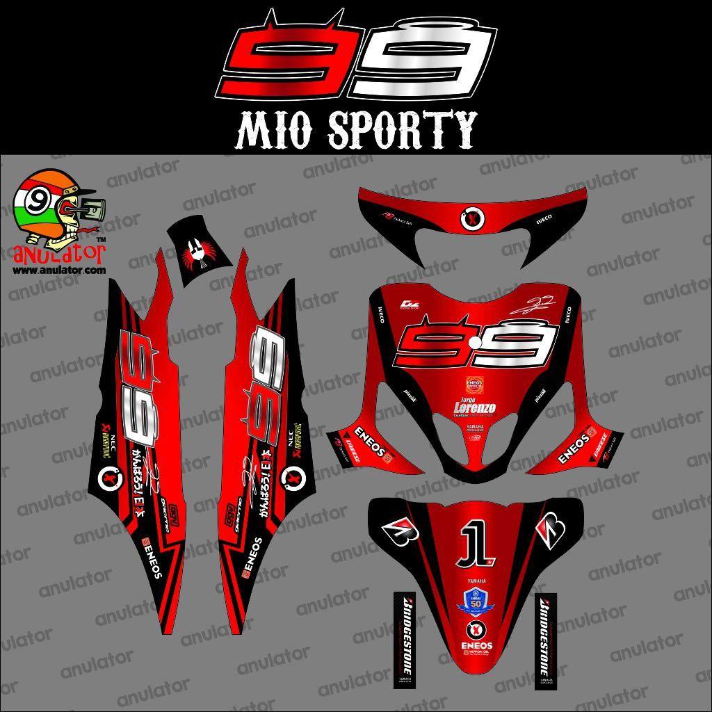 Sticker striping motor stiker yamaha mio sporty barcelona putih spec b terbaik juoss shopee indonesia