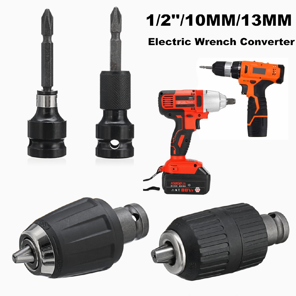 """1//2/"""" to 1//4/"""" Hex Shank Drill Chuck Adaptor For Impact Wrench Conversion Kit New"""
