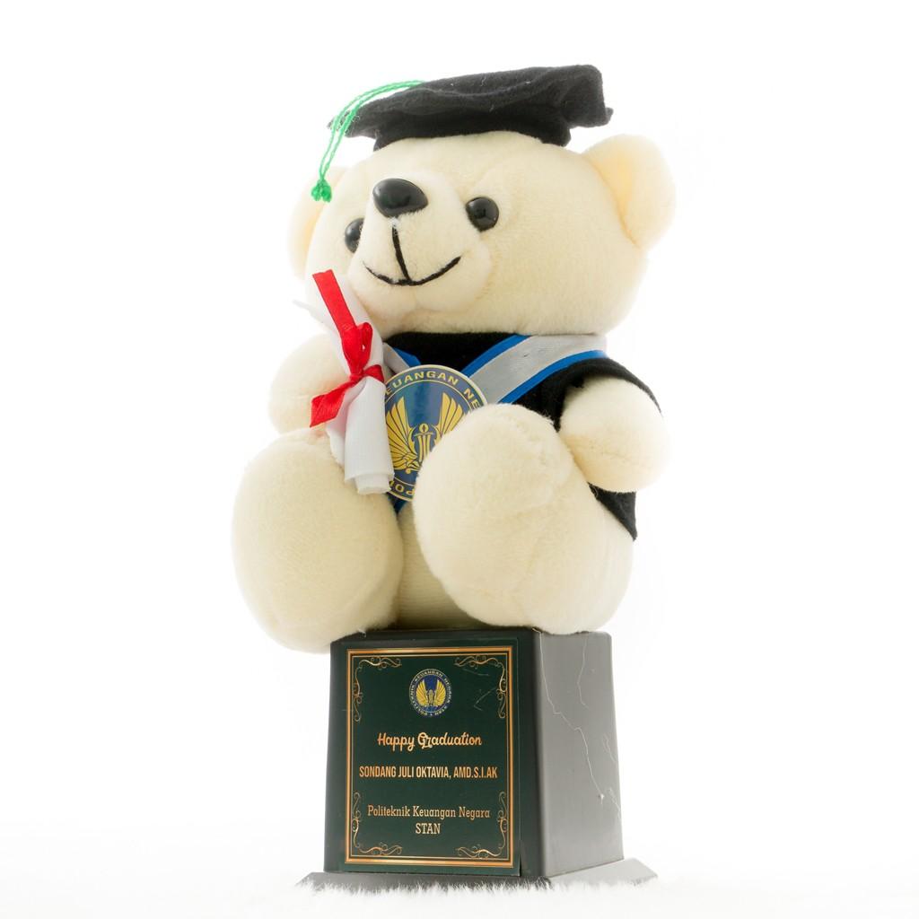 Piala Boneka Wisuda Teddy Bear bisa Request Nama dan Logo Kado Wisudaku  d024456fe5