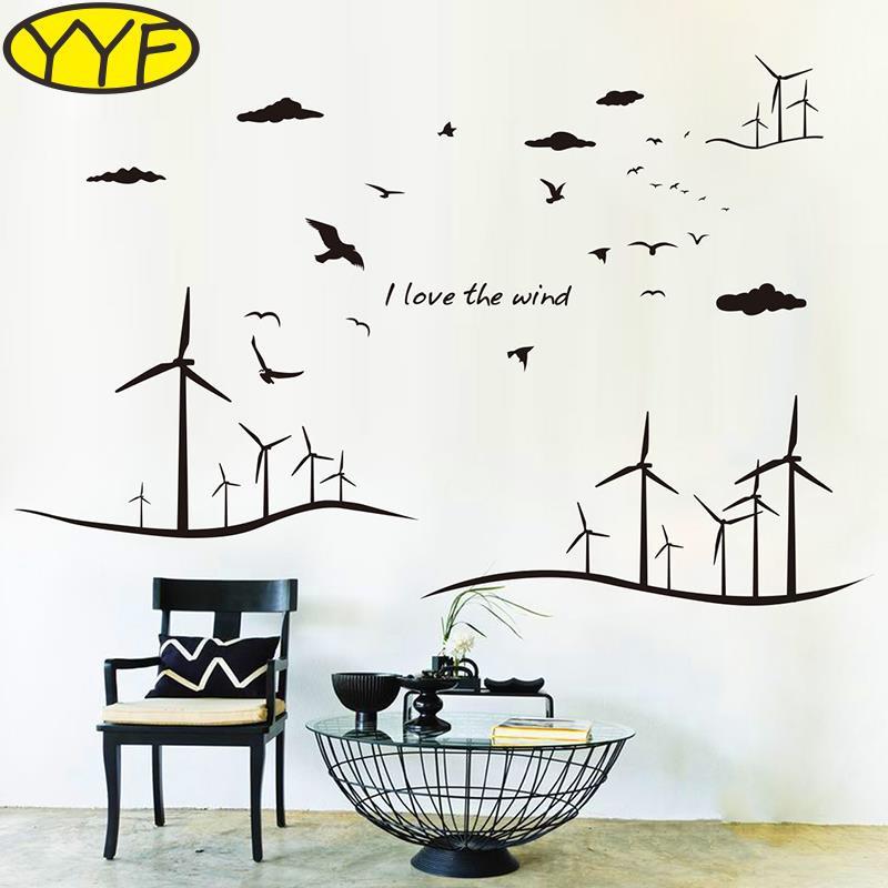 Wallpaper Ruang Keluarga Sederhana  kepribadian kreatif kincir angin modern kelas sederhana ruang tamu kantor dekorasi kelas stiker angs