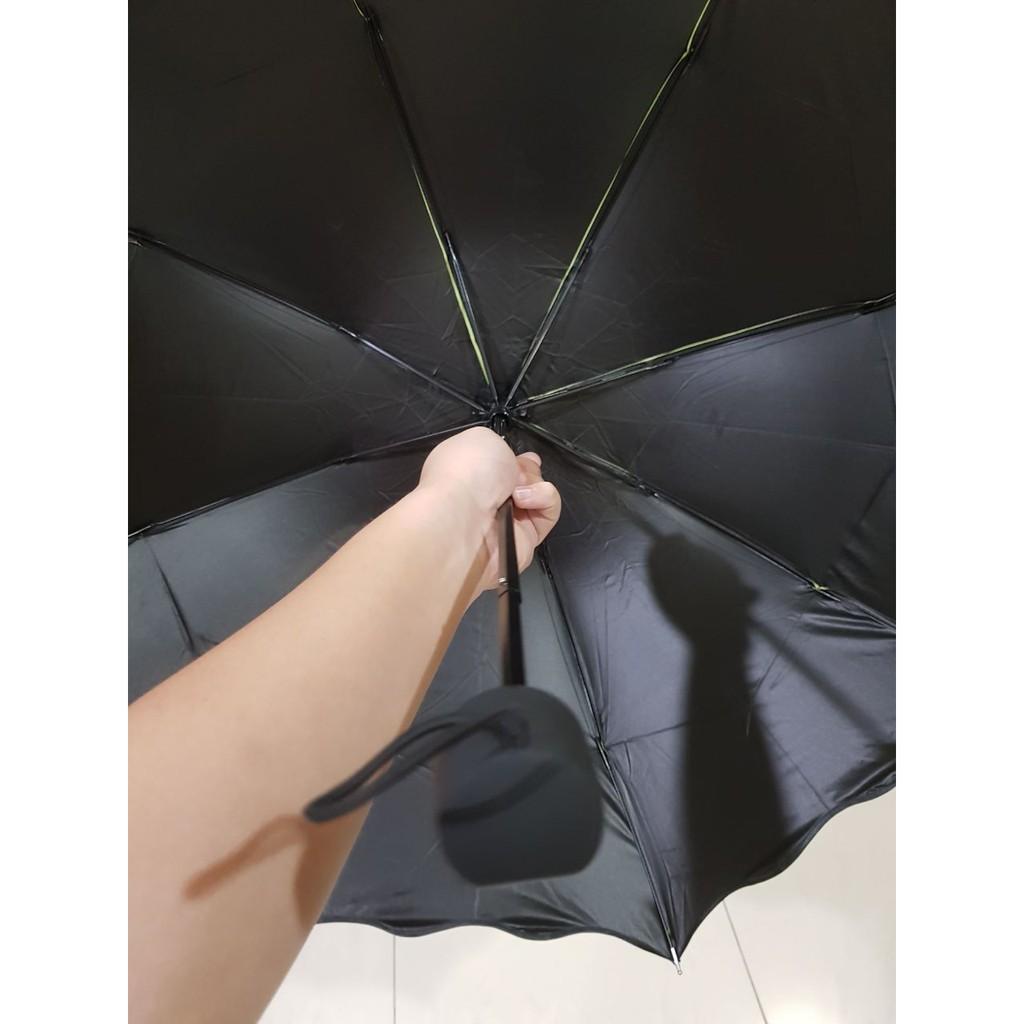 Payung Lipat 3d Magic Dimensi Lapisan Hitam Anti Uv Gelombang Polos