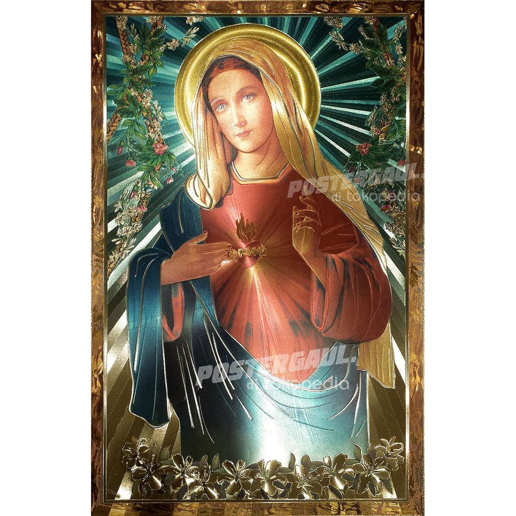 Poster foil emas jumbo YESUS & BUNDA MARIA #FOJU12 - ukuran 50 X 69 cm
