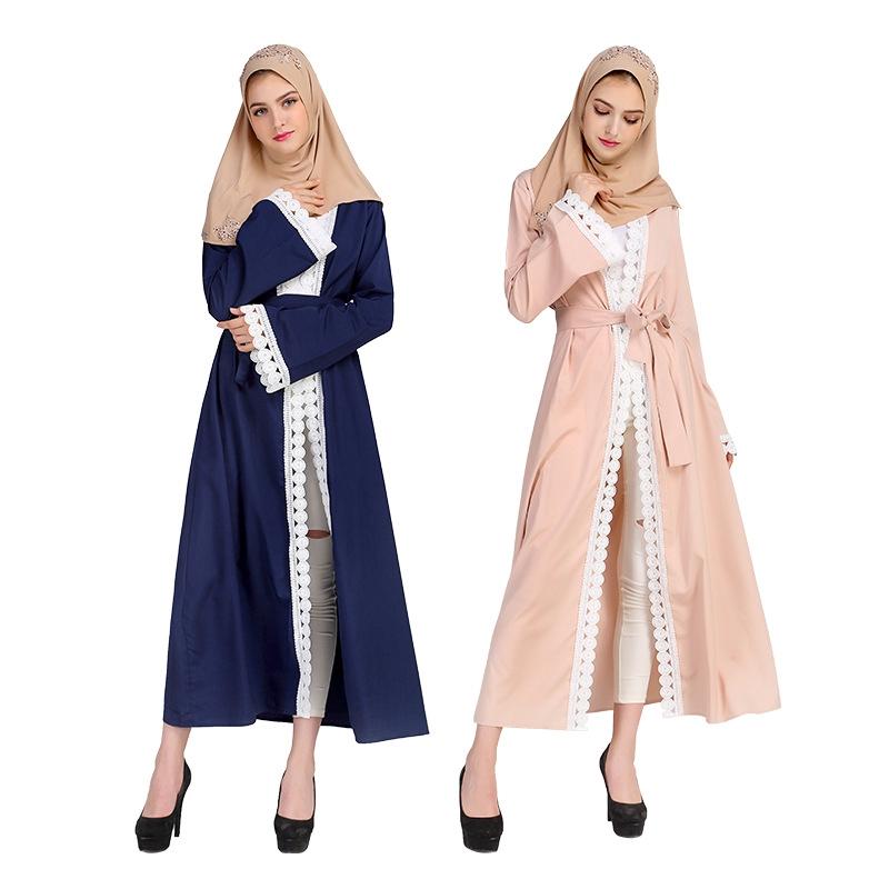 Long Dress Gamis Muslim Bahan Sifon Motif Bordir Warna Hitam Untuk