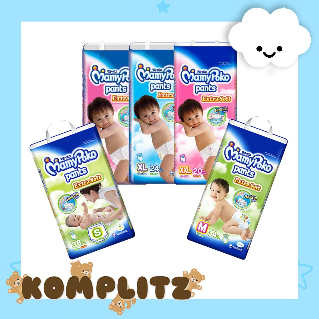 Mamypoko Pants Extrasoft Mamy Poko Extra Soft Tipe Celana Shopee Standart S40 M34 L30 Indonesia